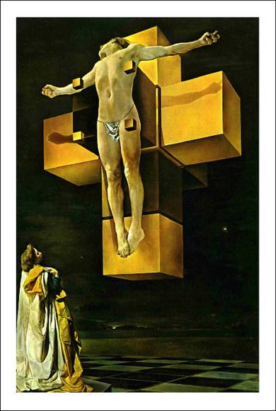 "Salvador Dali - ""Crucificare"" (Corpus Hypercubus) - pictura realizata in anul 1954"