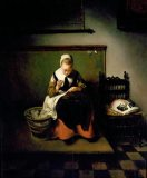 a women making lace by N Maes