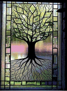 Stained Glass Sculpted Tree Beveled Glass Window